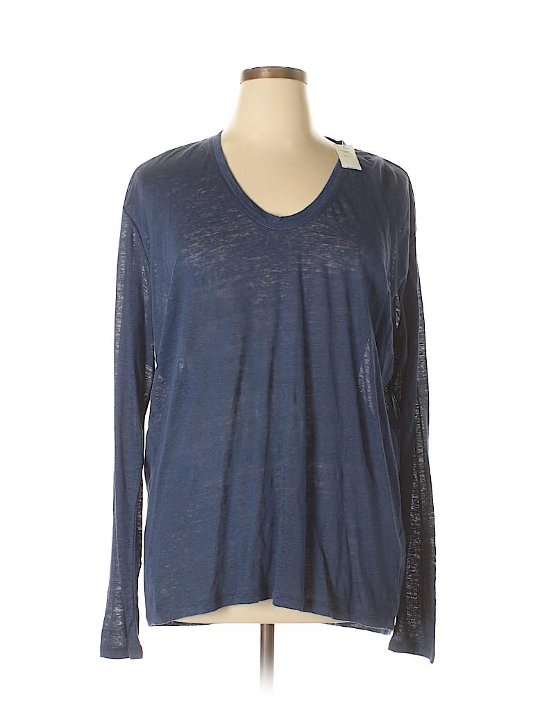 d56e78a0d8 Gap 100% Linen Solid Dark Blue Long Sleeve T-Shirt Size XL (Tall ...