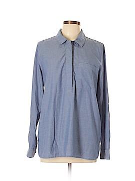 Fleur bleue Long Sleeve Button-Down Shirt Size L