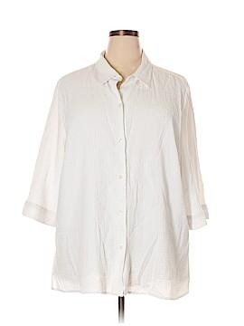 Maggie Barnes 3/4 Sleeve Button-Down Shirt Size 2X (Plus)