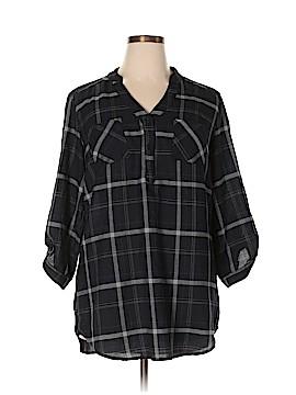 B-Design 3/4 Sleeve Button-Down Shirt Size XL
