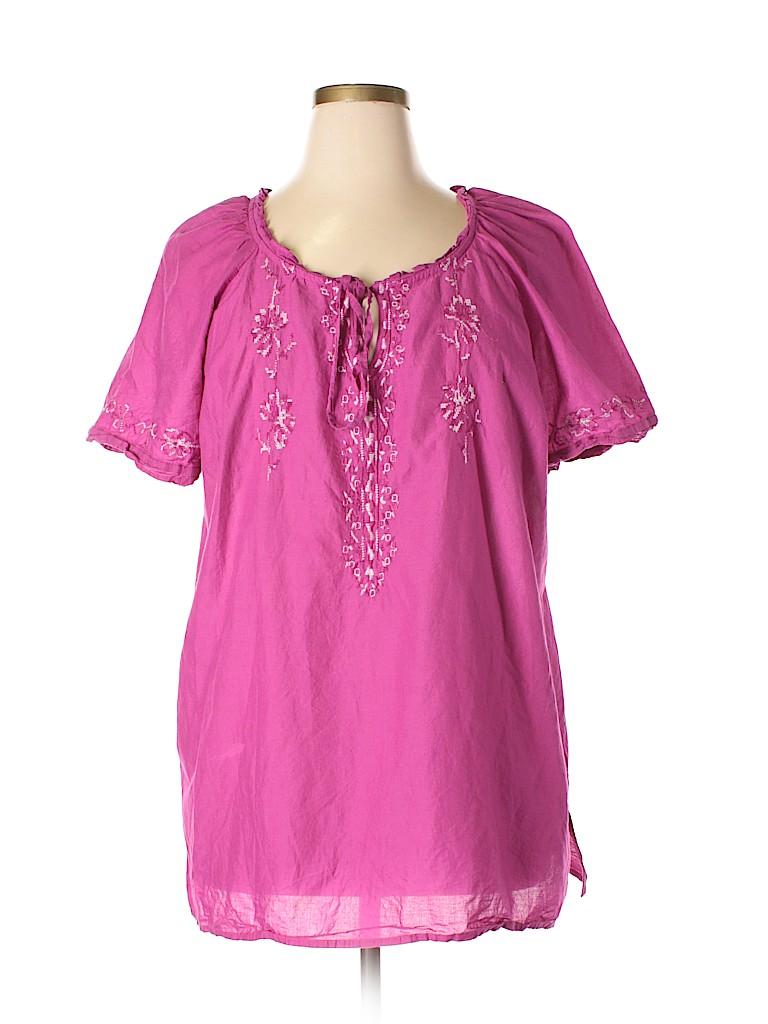 Fashion Bug Women Short Sleeve Blouse Size 1X (Plus)
