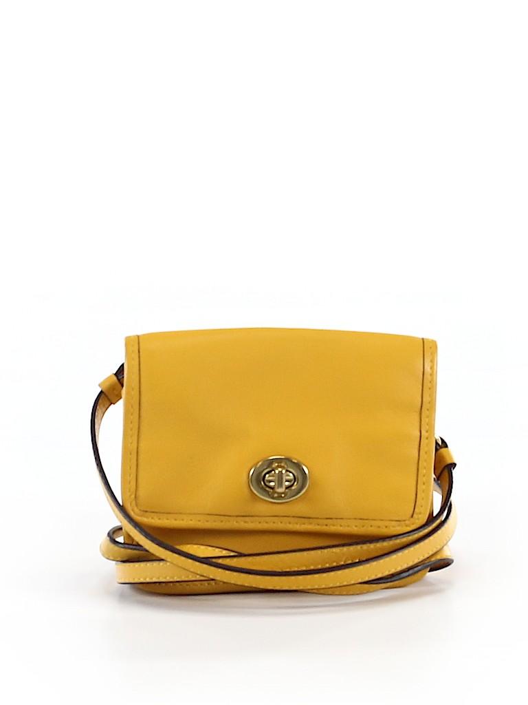 3cc0c3b25b Coach 100% Leather Solid Dark Yellow Leather Crossbody Bag One Size ...