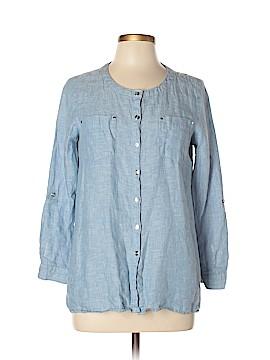 JM Collection Long Sleeve Button-Down Shirt Size 8 (Petite)