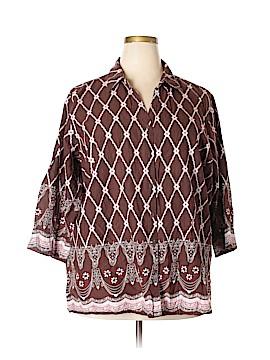 Krazy Kat 3/4 Sleeve Button-Down Shirt Size 3X (Plus)