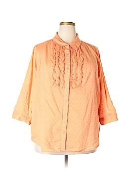 Laura Scott 3/4 Sleeve Button-Down Shirt Size 2X (Plus)
