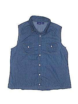 Great Northwest Indigo Sleeveless Button-Down Shirt Size XL