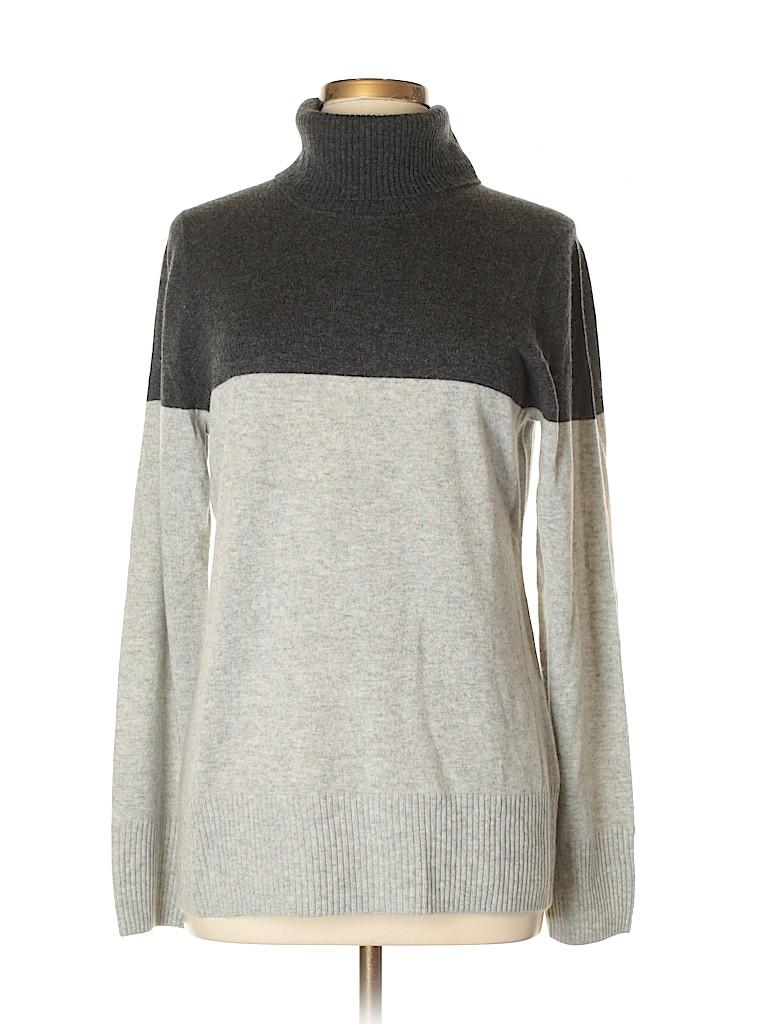 J Crew 100 Cashmere Color Block Gray Cashmere Pullover Sweater