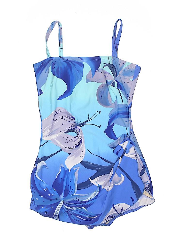c4a8560c2b65e Roxanne Swimwear Tropical Floral Blue One Piece Swimsuit Size 12 ...