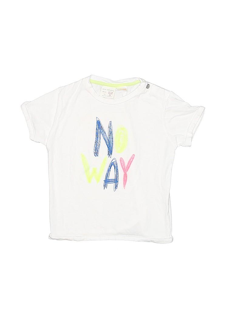 40282b25 Zara Baby 100% Cotton Graphic White Short Sleeve T-Shirt Size 12-18 ...