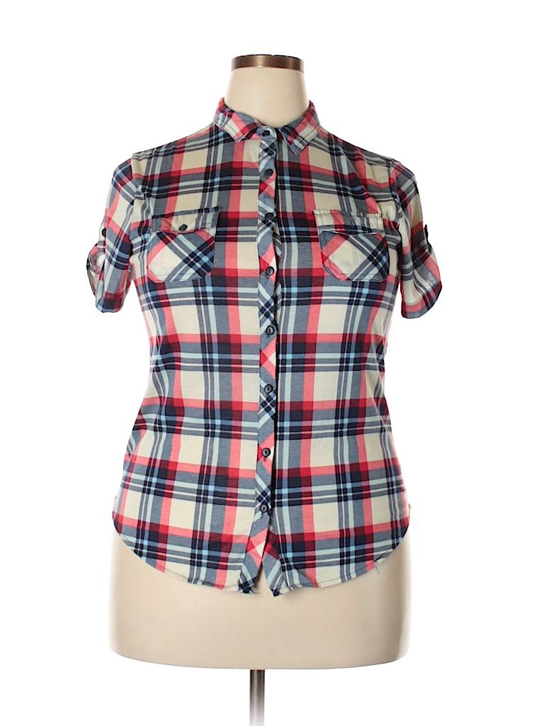 Passport Women Short Sleeve Button-Down Shirt Size XL