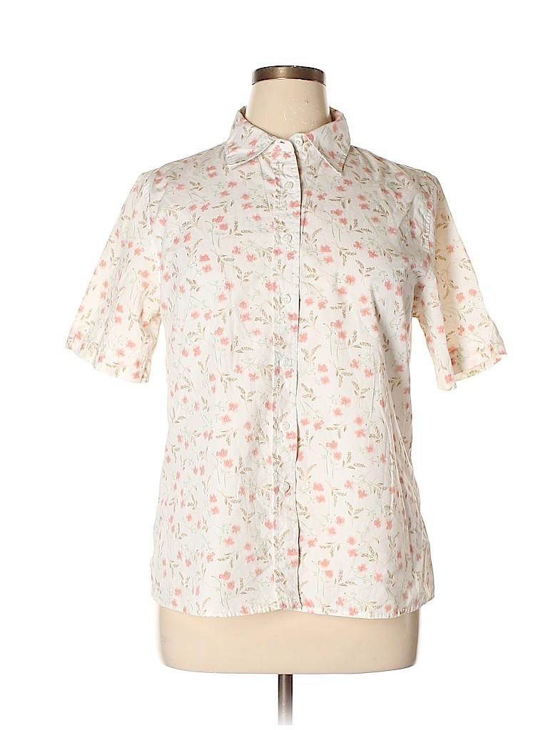 f4a33d4c Classic Elements Floral White Short Sleeve Button-Down Shirt Size 16 ...