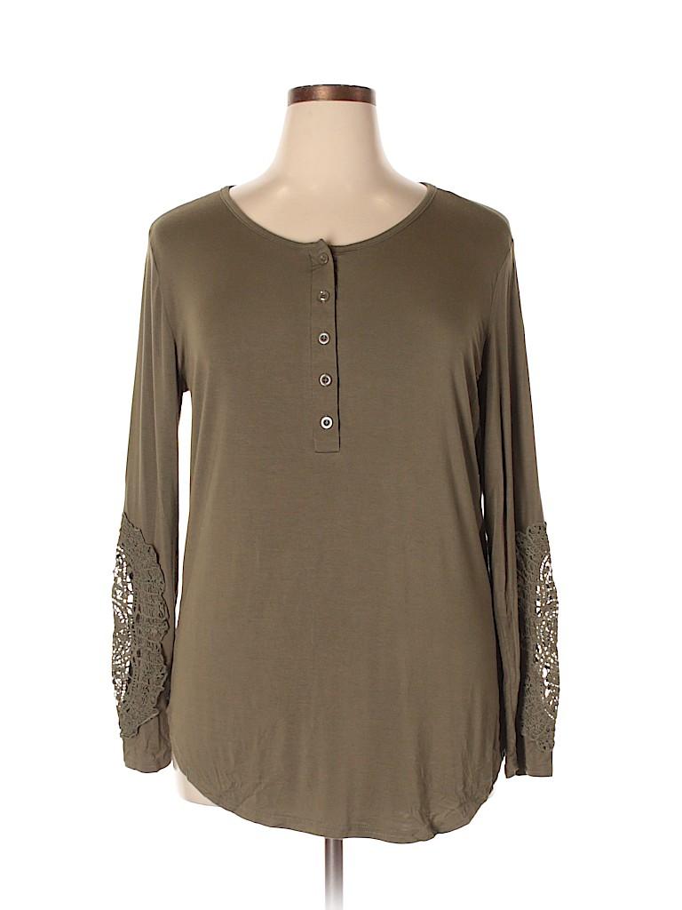 Amaryllis Women Long Sleeve Henley Size XL