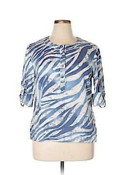 JM Collection 3/4 Sleeve Button-Down Shirt Size 14 (Petite)