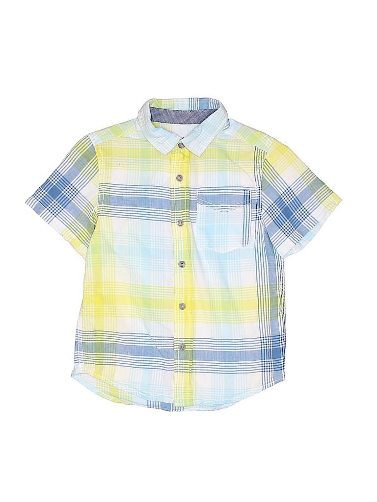 eb33b25a Cat & Jack 100% Cotton Plaid Yellow Short Sleeve Button-Down Shirt ...