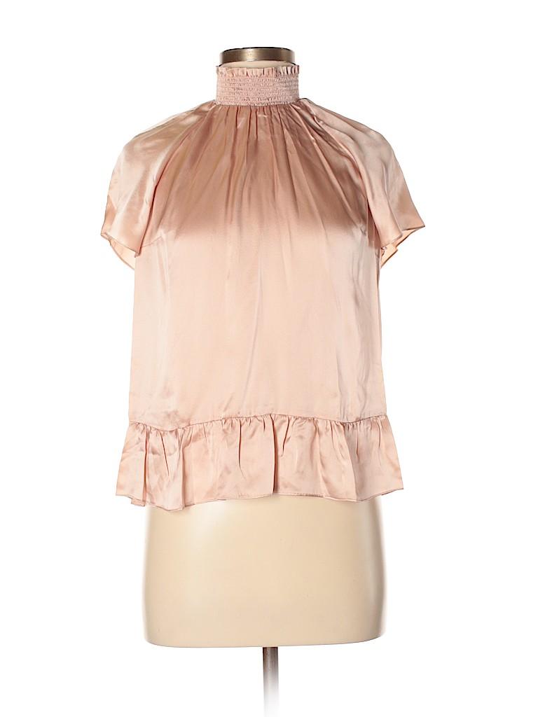 24b23b6fd5e75 Rachel Zoe 100% Silk Light Pink Short Sleeve Silk Top Size 6 - 84 ...