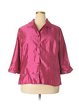Kathie Lee 3/4 Sleeve Button-Down Shirt Size 18/20 (Plus)