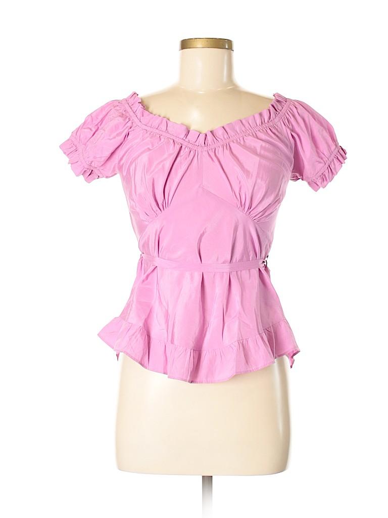 8b20e0d5799eb Zara Pink Short Sleeve Silk Top Size M - 48% off