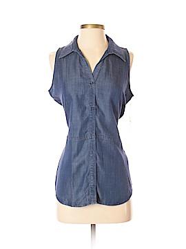 Ecru Sleeveless Button-Down Shirt Size S