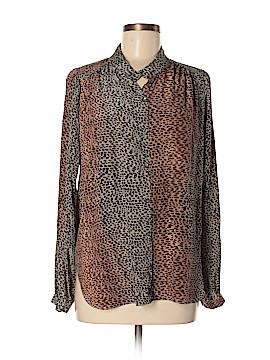 Velvet Long Sleeve Silk Top Size L