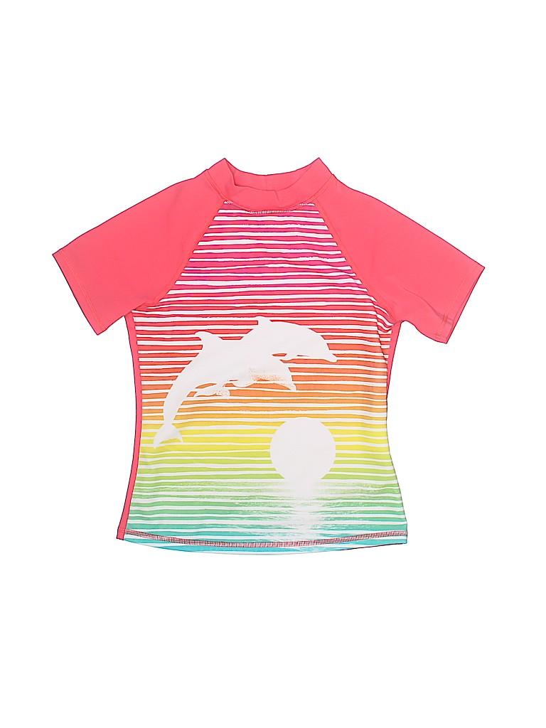 44cc3e6bd87d0 Lands' End Stripes Graphic Pink Rash Guard Size M (Kids) - 43% off ...