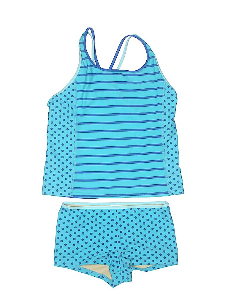fea059a94ca49 Lands' End Polka Dots Stripes Blue Two Piece Swimsuit Size 10 - 48 ...