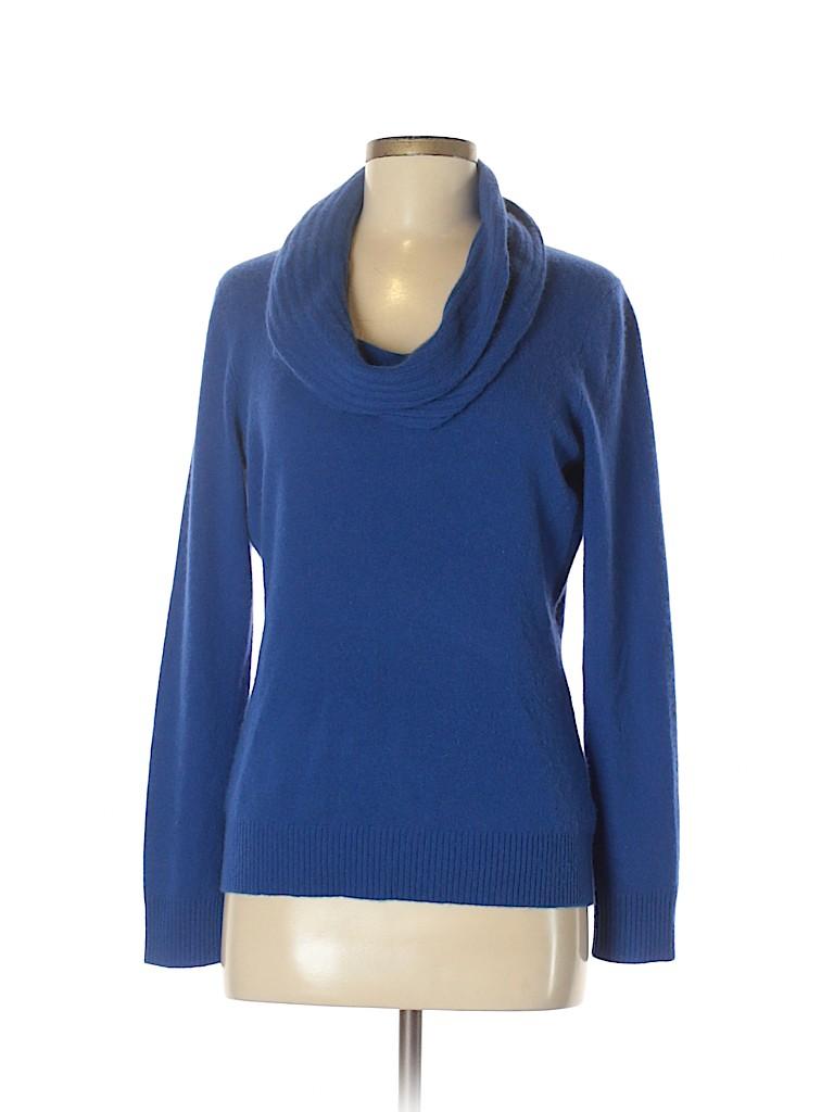 99be4db7360 Antonio Melani 100% Cashmere Solid Blue Cashmere Pullover Sweater ...