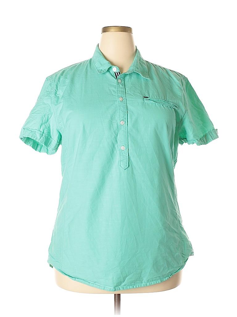 Guess Women Short Sleeve Button-Down Shirt Size XXL