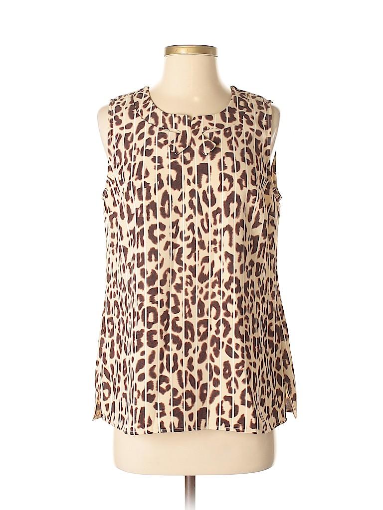 8b12dfefa2e28a CAbi 100% Polyester Animal Print Brown Sleeveless Blouse Size S - 58 ...