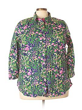 Caribbean Joe 3/4 Sleeve Button-Down Shirt Size 2X (Plus)