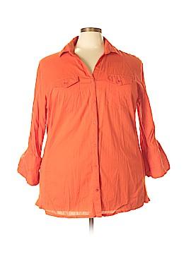 Ellen Tracy 3/4 Sleeve Button-Down Shirt Size 24 (Plus)