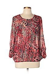 Roz & Ali Women Long Sleeve Blouse Size L