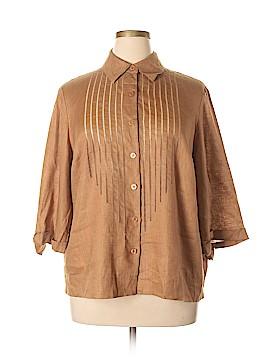 Rena Rowan 3/4 Sleeve Button-Down Shirt Size 18 W (Plus)