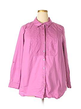 Denim + Company Long Sleeve Button-Down Shirt Size 2X (Plus)