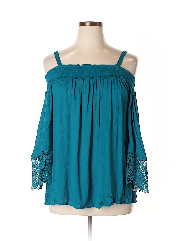 INC International Concepts Women Long Sleeve Blouse Size 0X (Plus)
