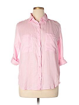 John & Jenn 3/4 Sleeve Button-Down Shirt Size L
