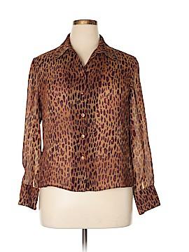 Kasper Long Sleeve Button-Down Shirt Size 14 (Petite)