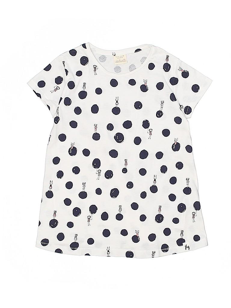 d5d4221f Zara 100% Cotton Print Dark Blue Short Sleeve Top Size 8 - 73% off ...