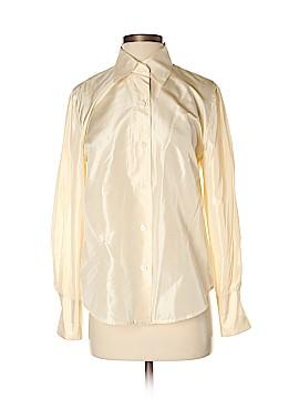 Linda Allard Ellen Tracy Long Sleeve Silk Top Size 8 (Petite)