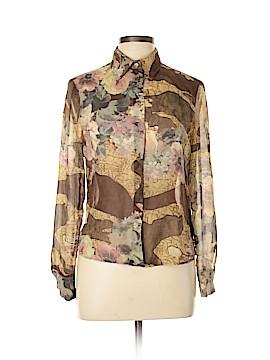 Les Copains Long Sleeve Silk Top Size 44 (EU)