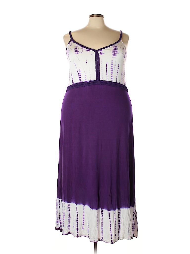 Ashley Stewart Print Dark Purple Casual Dress Size 26 Plus 41