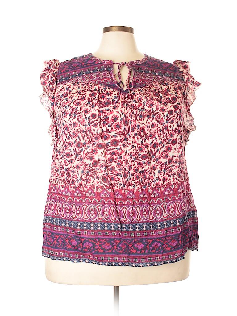 Lucky Brand Women Short Sleeve Blouse Size 2X (Plus)