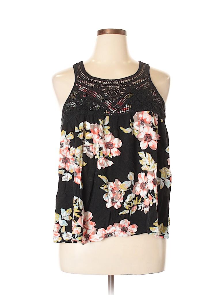 d51fb4b13b14f Torrid 100% Rayon Crochet Floral Black Sleeveless Blouse Size 1X ...
