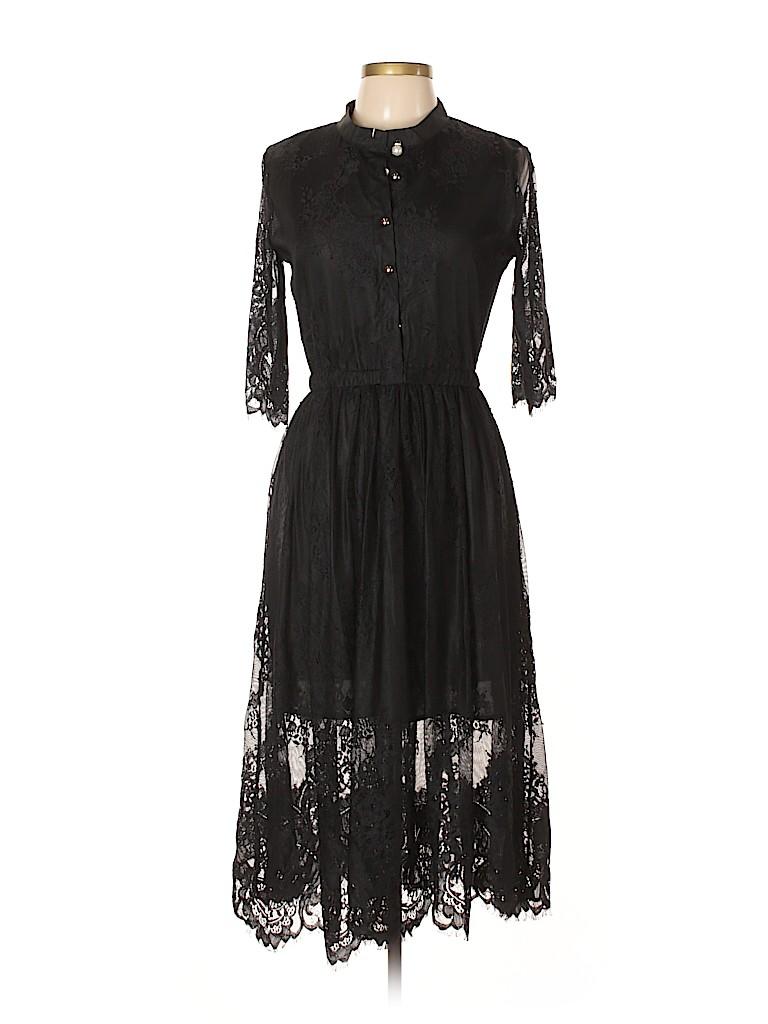 76d37435881 Coeur De Vague 100% Polyester Lace Black Cocktail Dress Size L - 70 ...