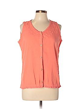 Eucalyptus Sleeveless Button-Down Shirt Size L