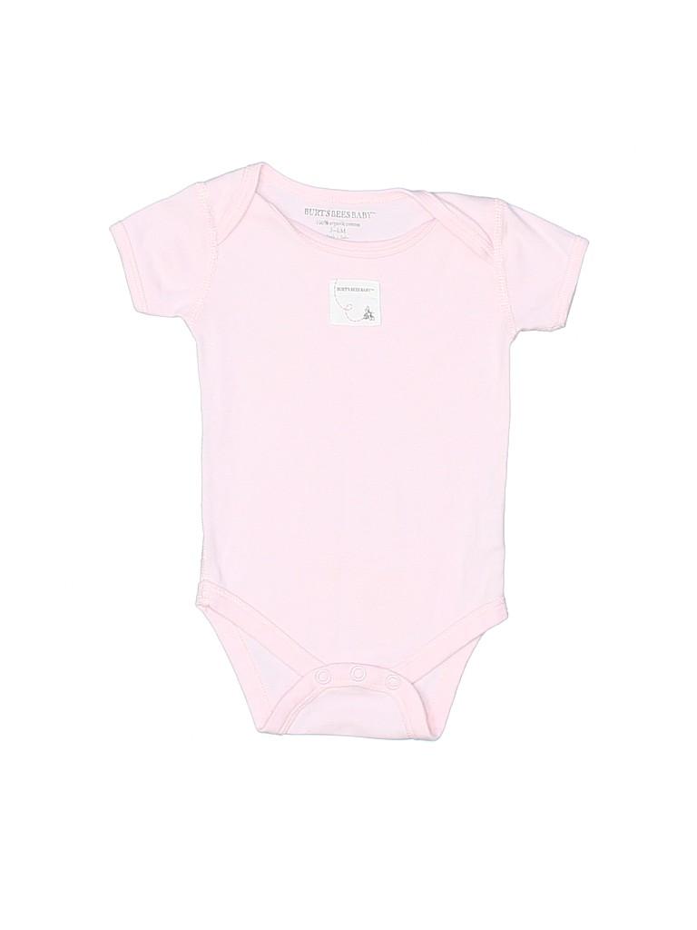 0fe136c6a Burt s Bees Baby 100% Cotton Solid Light Pink Short Sleeve Onesie ...