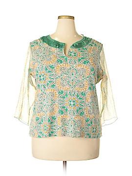 Caribbean Joe Long Sleeve Blouse Size 1X (Plus)