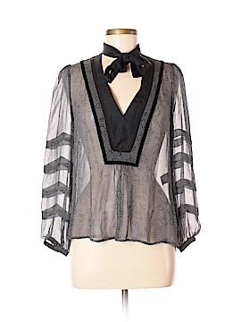 Barbara Bui Initials Long Sleeve Silk Top Size S