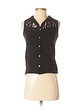 Chocolate Sleeveless Button-Down Shirt Size S