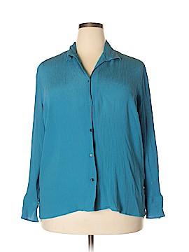 AK Anne Klein Long Sleeve Silk Top Size 22 (Plus)
