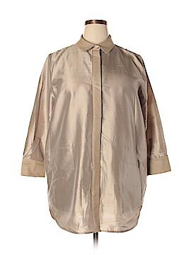 Lafayette 148 New York 3/4 Sleeve Silk Top Size XXL